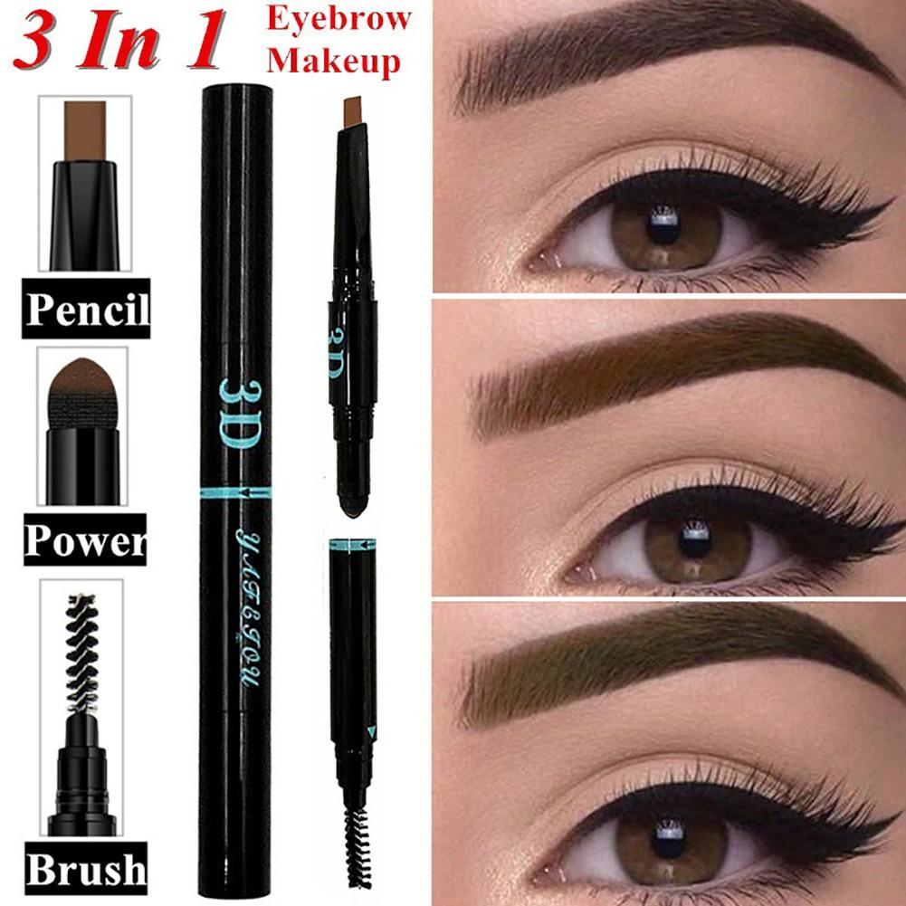 ❥3 in 1 Eyebrow Pencil Brush Powder Women's Beauty Makeup Cosmetic Gift