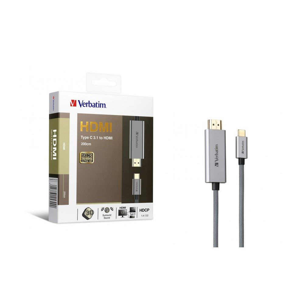 Verbatim Type C 3.1 to HDMI 2.0 4K Cable Support Ultra HD 3D Display 200cm 65709