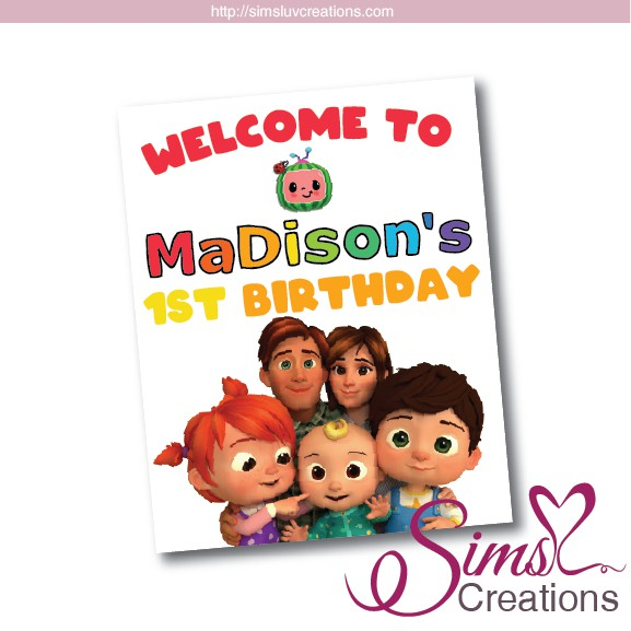 Personalized Cocomelon Party Flag// Birthday Decoration Banner buy 4 get 6