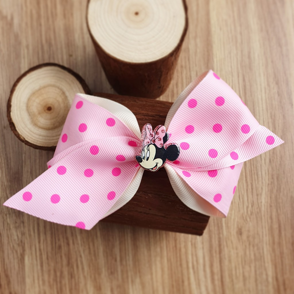 Disney Minnie Mouse Stacked Boutique Hair Bow Pink Black Glitter Toddler Girl