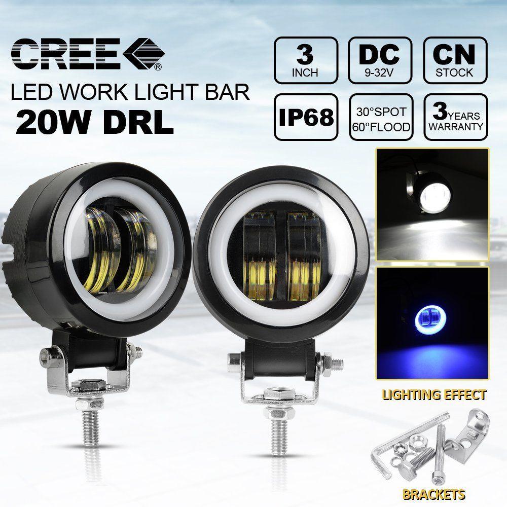 "2x 2/"" 10W CREE LED Work Light COB Halo Ring DRL 12V Motorcycle Driving Fog Lamp"