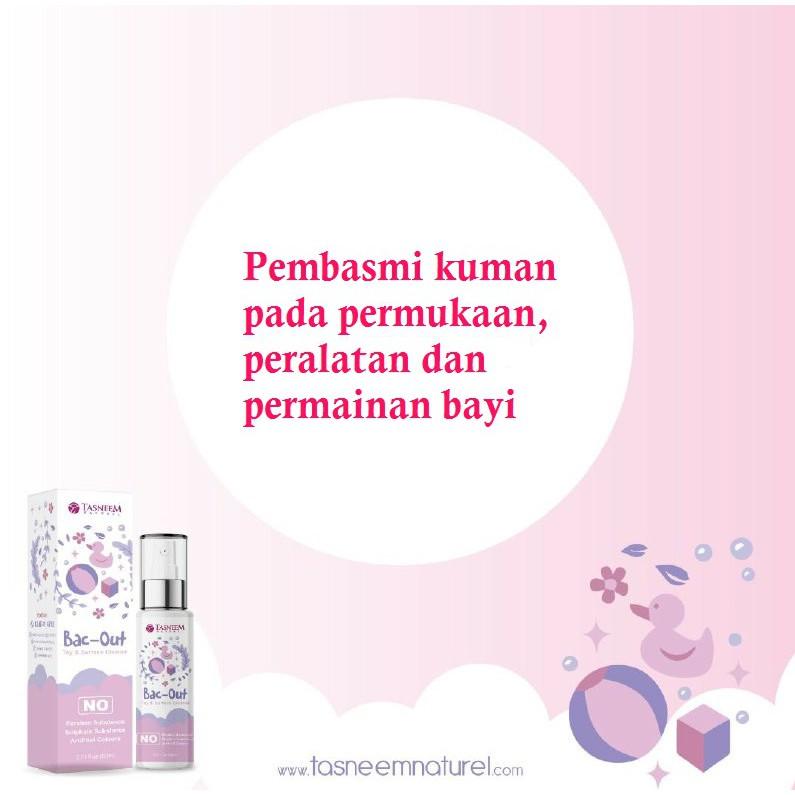 Spray Pembersih Kuman l Mematikan Hama Pada Permukaan dan Permainan Bayi l Bac Out by Tasneem with FREE GIFT (80ml)