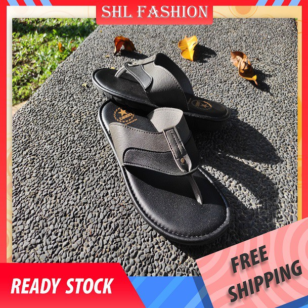 SHL Men PU Leather Sandal Casual Slip On & Flip Flops Selipar Kasut Lelaki size 40-44【男士拖鞋】-2801