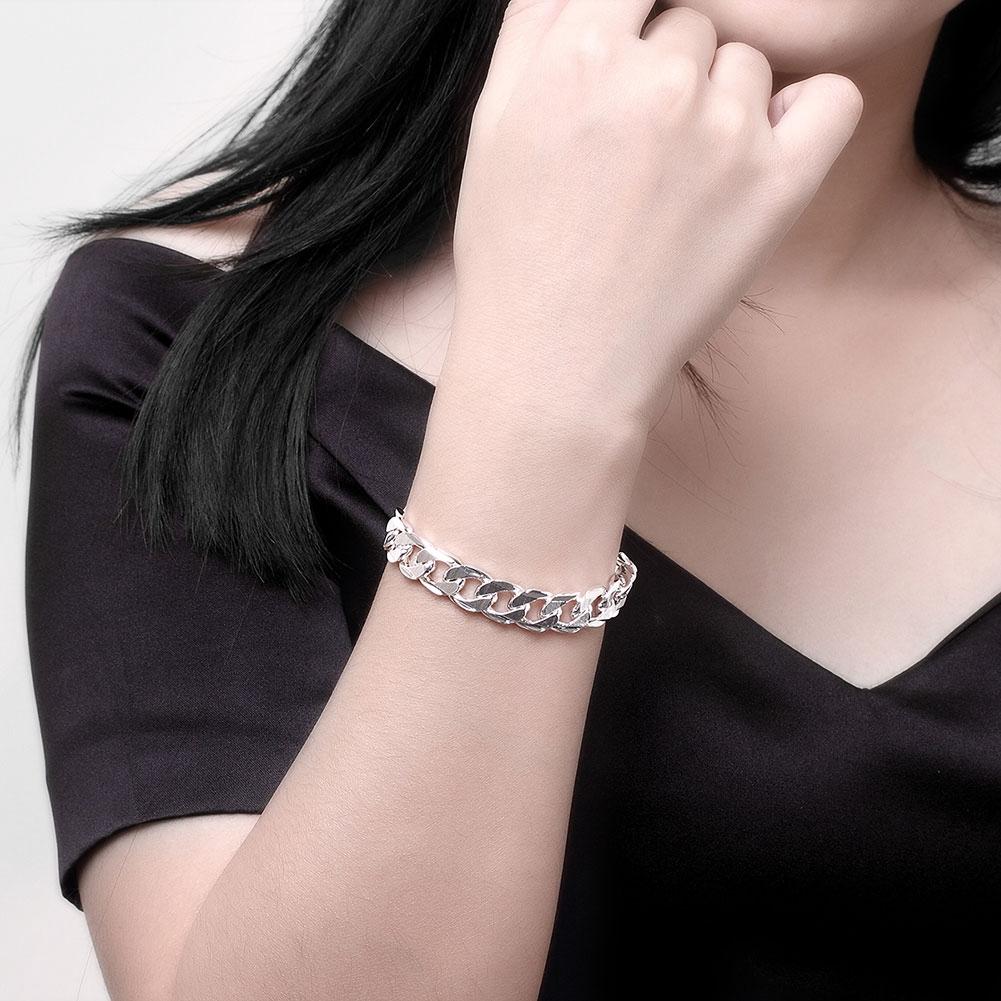 10MM Square Buckle Side Tattoo Men's Geometric Silver Chain Bracelet