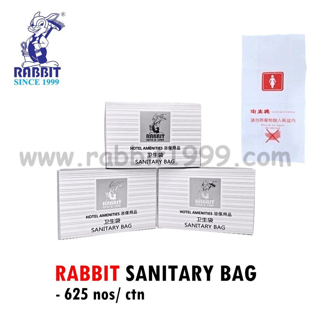 RABBIT SANITARY BAG (625nos/ ctn)- disposable sanitary bag/ hotel sanitary bag/ borong sanitary bag/portable laundry bag
