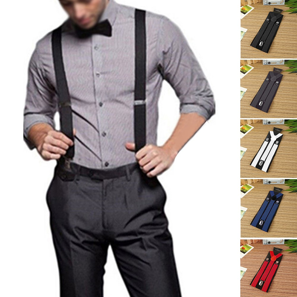 Mens Braces Suspender X Back Clip On Adjustable Elastic for Trousers Jeans LC