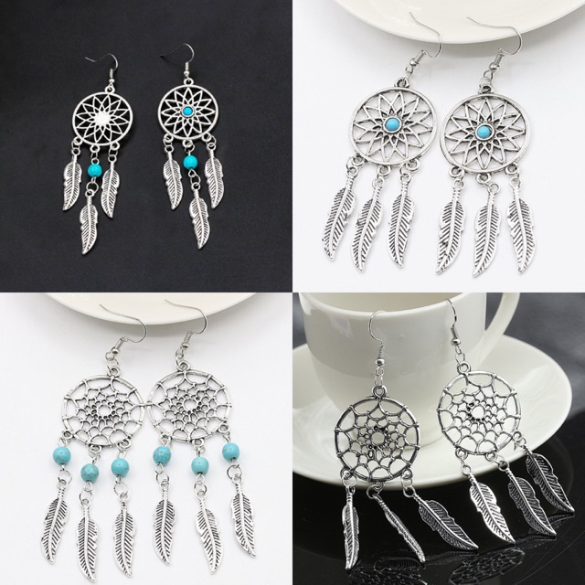 8047dcc67cf91 Dream Catcher Silver color Ear Drop Feathers Earrings Fine Jewelry