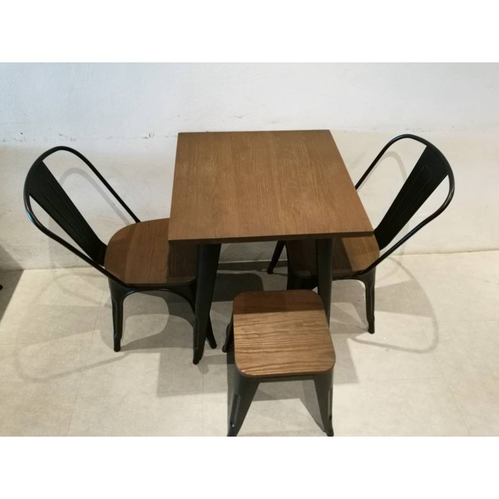 Cafe Restaurant Solid Wood Metal Table & Chairs