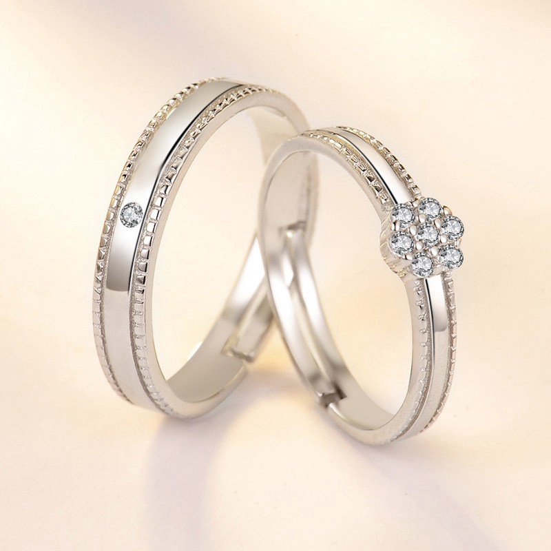 North Arrow Shop King and Queen CZ Crown Ring 925 Sterling Silver with Jewelry Box