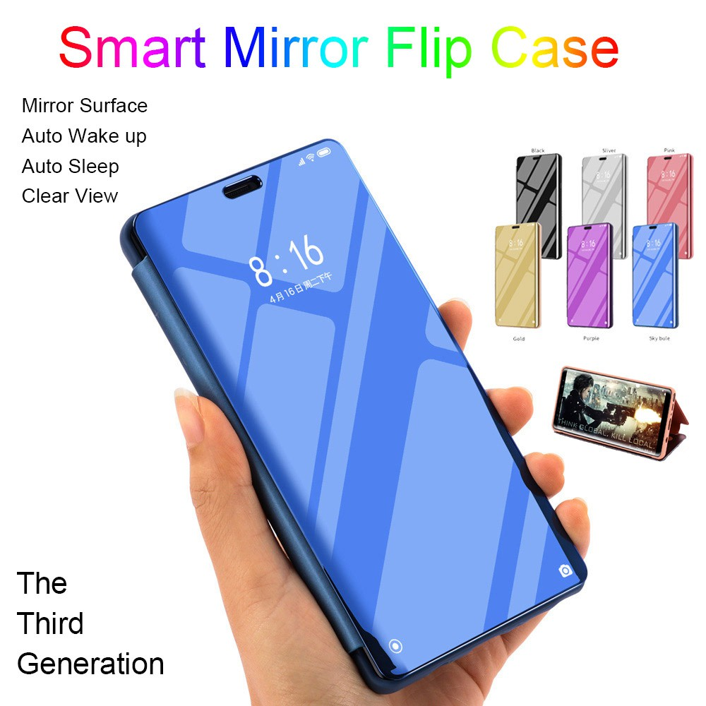 OPPO A7 A5s A9 A5 A3s A59 F1s A37 A83 A1 A71 Smart Mirror Flip Case Clear  View Casing Hard Shockproof Leather Back Cover