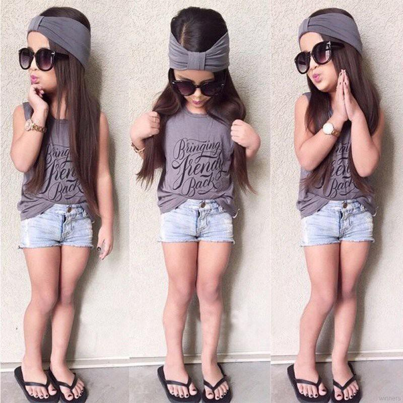 fa91ccb92 Kids Baby Girls Outfits Headband+Tops T-shirt+Jeans Pants Clothes 3pcs Set  | Shopee Malaysia