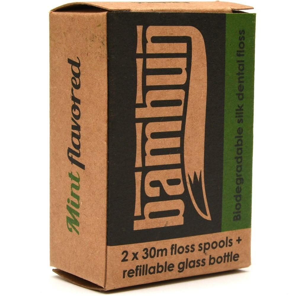 Bambun Dental Floss 30m with Jar - Natural Mint + 1 Refill