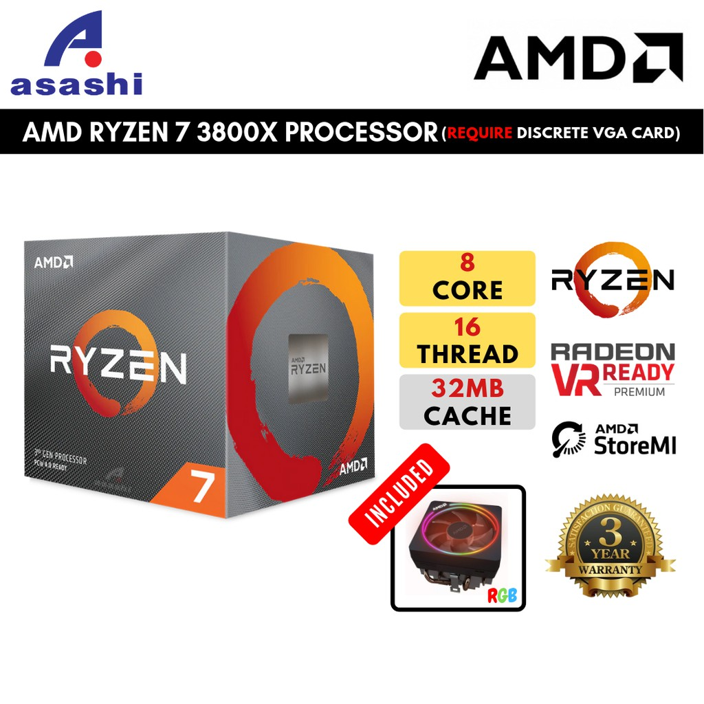 Amd Ryzen 7 3800x 8 Core 16 Thread Processor With Wraith Prism Led Cooler