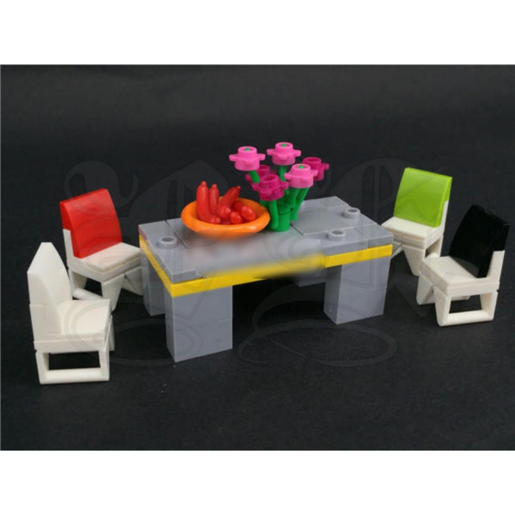 W 4 Chairs Set Moc O82 Lego Compatible