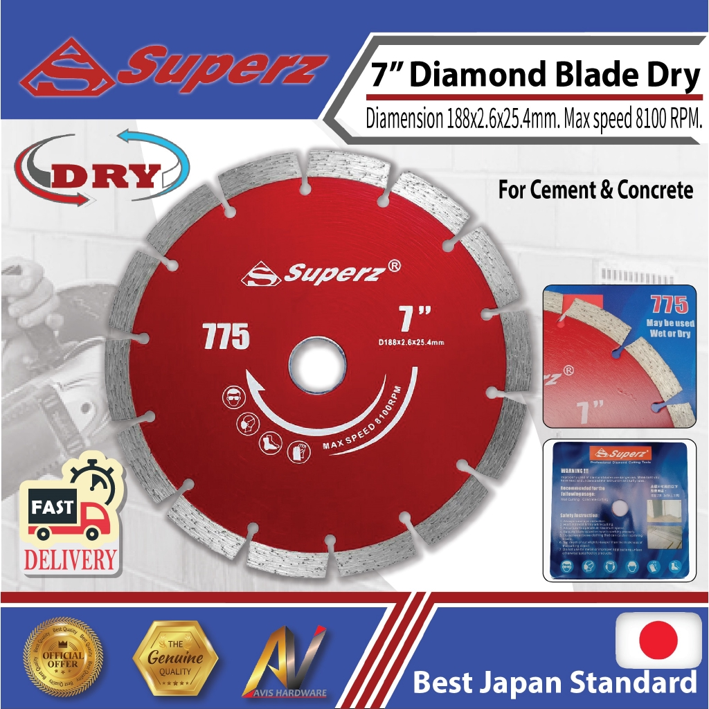 "Superz 775 7"" 188mm Diamond Blade DRY Masory-Stone-Concrete"