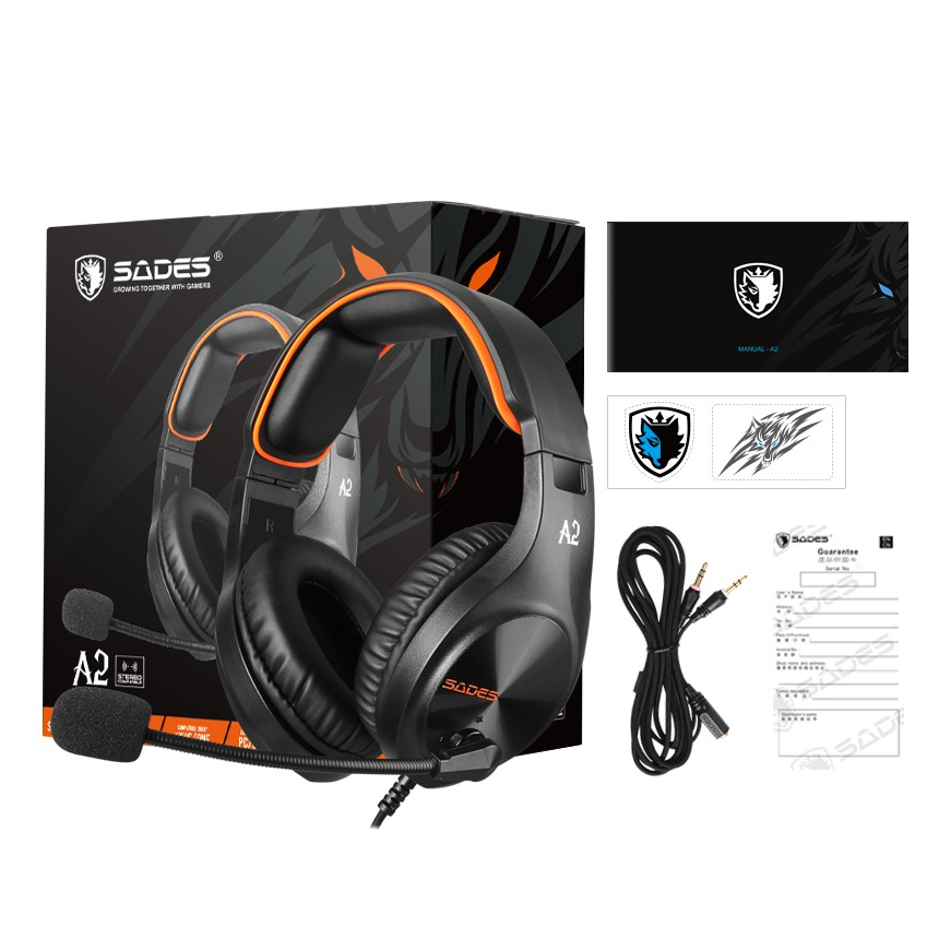 {SD-A2} Sades A2 Stereo Compatible Gaming Headset - PS4/ PS5,XBOX,NS,PC,Mobile (Orange/Pink)