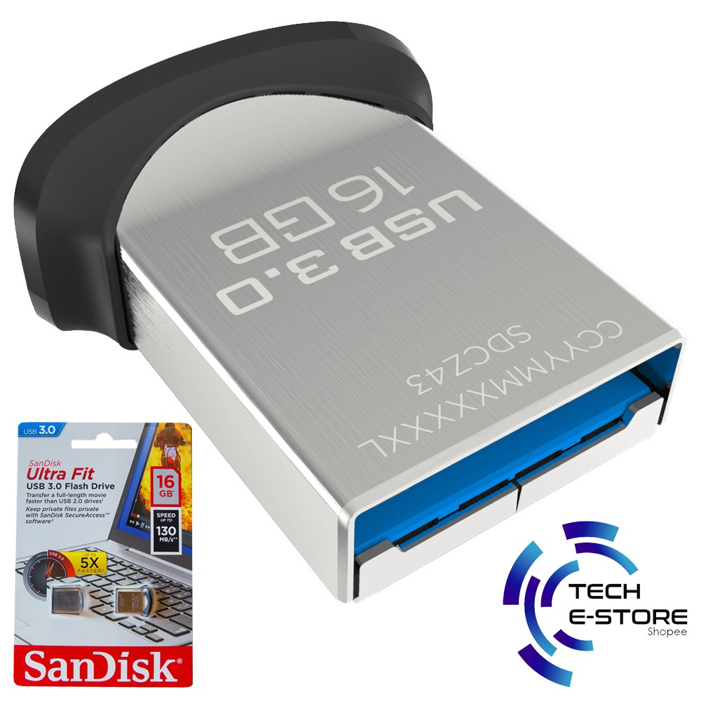 Sandisk Ultra Fit Usb 30 Flash Drive Cz43 128gb 16gb Pen Shopee Malaysia