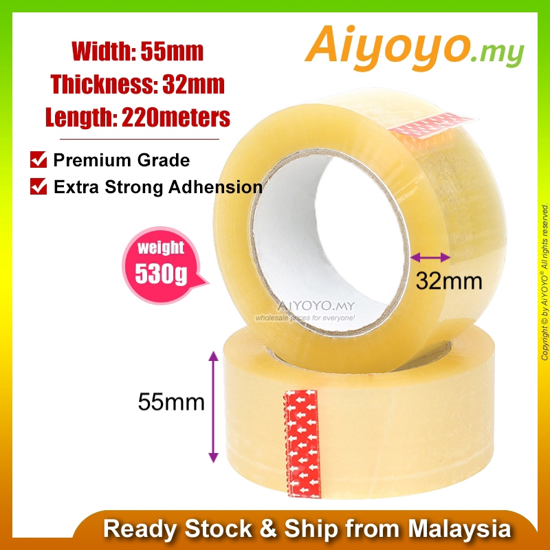 55mm x 220meters Transparent Packing Tape Cellophane OPP Packaging Sealing Carton Box Boxes Clear