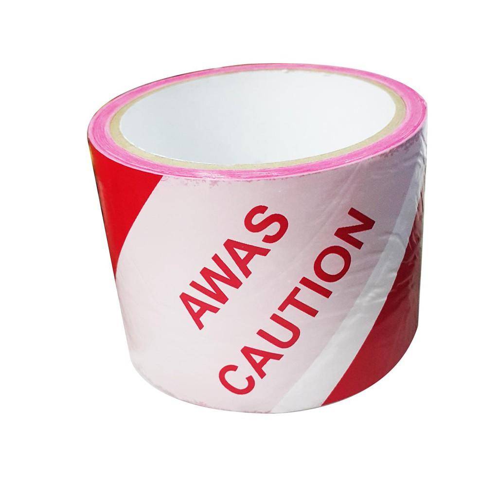 Awas Hazard Tape Warning Tape Danger Tape Safety Tape 3'' x 70Meter (Red/White)