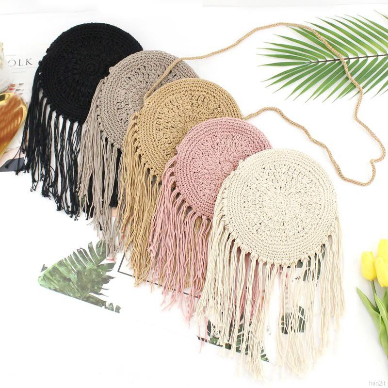 4a6df763ae9e Korean Ins Tassel Mini Handmade Bag Straw Bag