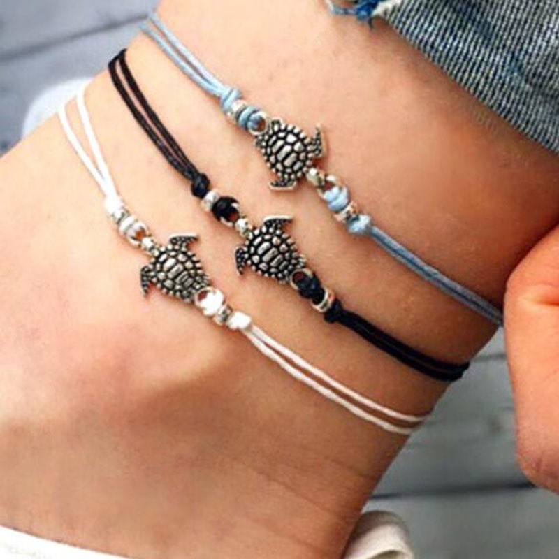 Beiswe Bohemian Dual Layer Chain Anklet Retro Leaves Tassels Pendant Silver Plated Chain Foot Bracelet for Female Beach Sandal Jewelry