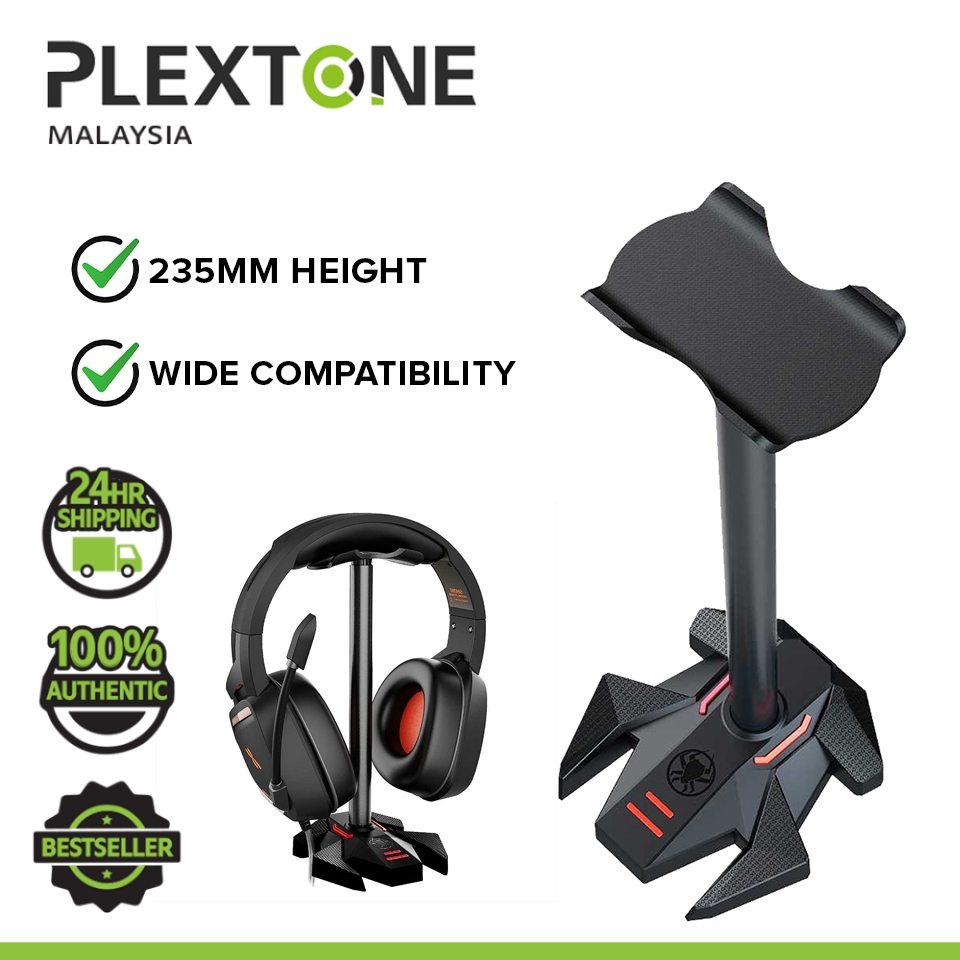 Plextone Headphone Stand Headset Holder Gaming Earphone Stand with Aluminum Supporting Bar Flexible Headrest Solid Base