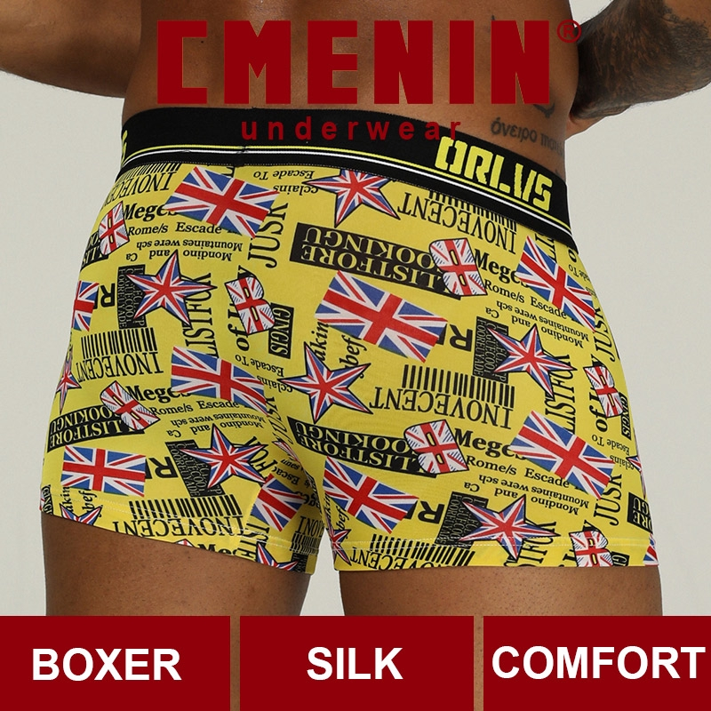 ORLVS Men'S Boxer Underwear Printed Ice Silk Breathable Sexy Underwear Wish Foreign Trade Explosion Models OR303