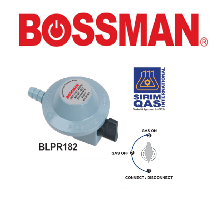 BOSSMAN BLPR182  LOW PRESSURE GAS REGULATOR (SIRIM ) ELECTRICAL ACCESSORIES KEPALA GAS