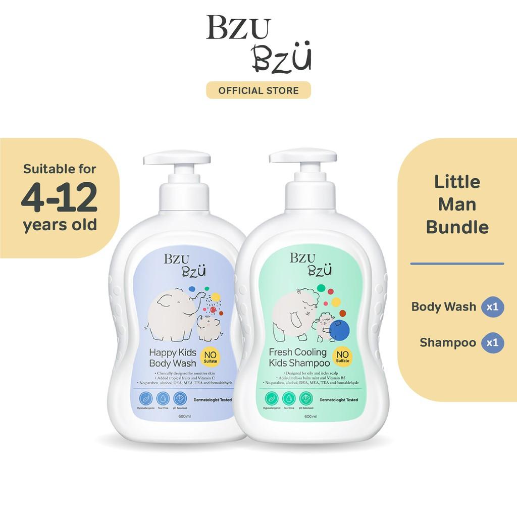 BZU BZU Little Man Bundle - Fresh Cooling Kids Shampoo (600ml) + Happy Kids Body Wash (600ml)