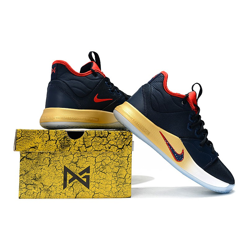 brand new 774ea f8a23 【NEWEST】 Nike basketball shoes Paul3 PG3 generation dark blue gold Size:  40-46 ready stock