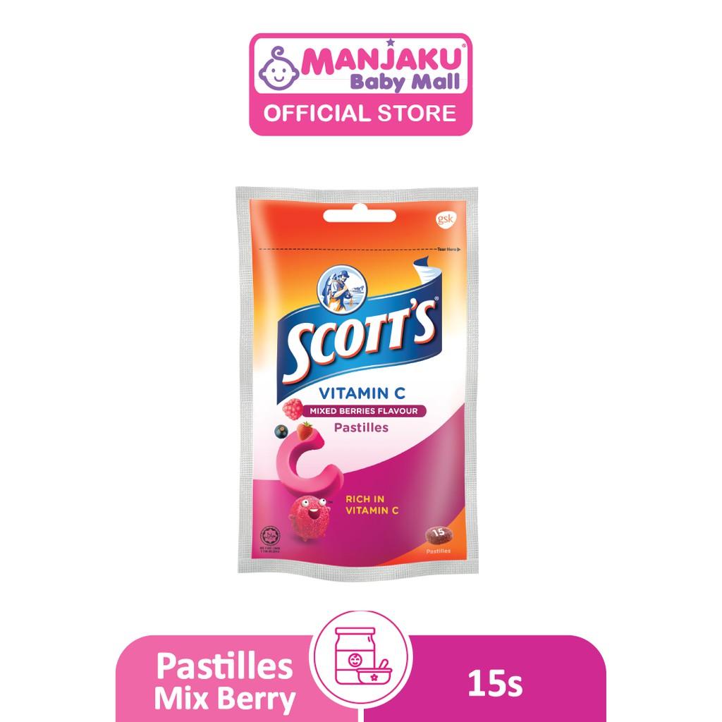 Scott's Vitamin C Pastille with Zipper (30g) - Mixberry / Peach / Mango / Orange Flavor