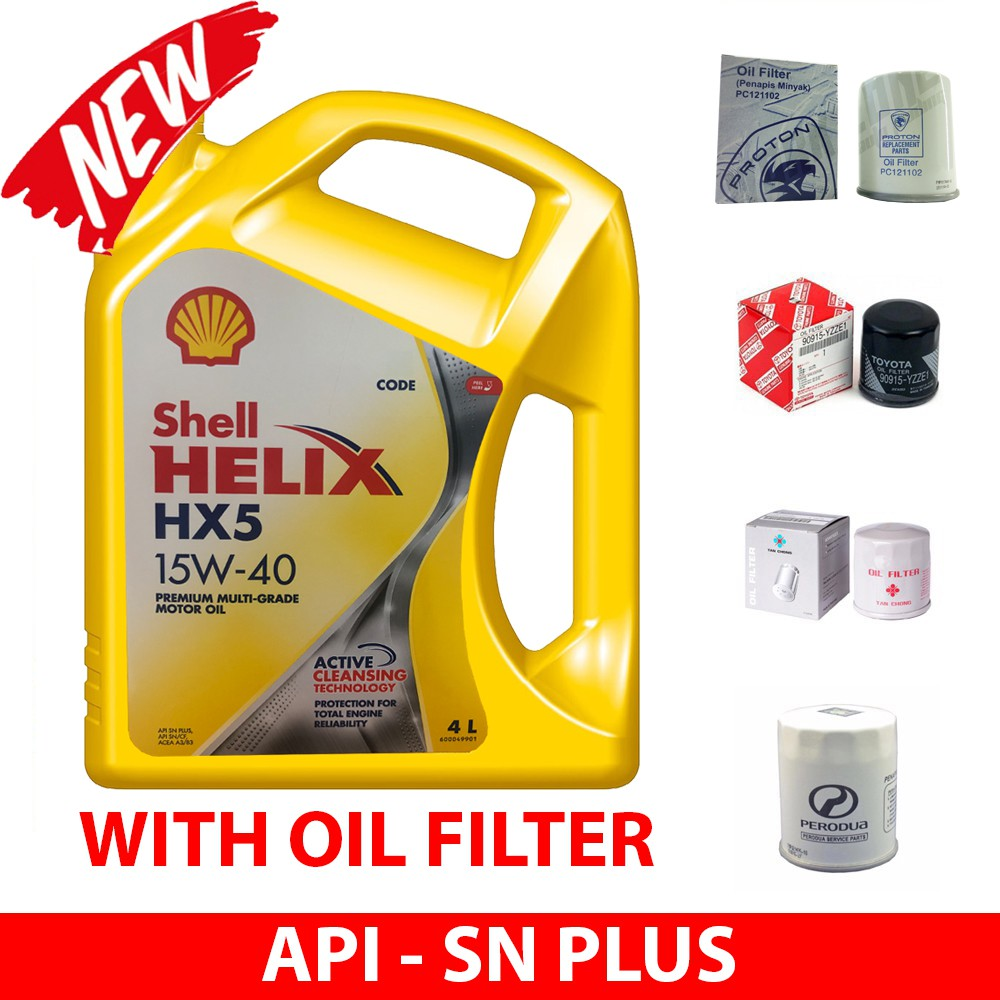 NEW Shell Helix HX5 15W-40 SN PLUS 4L (with Oil Filter)