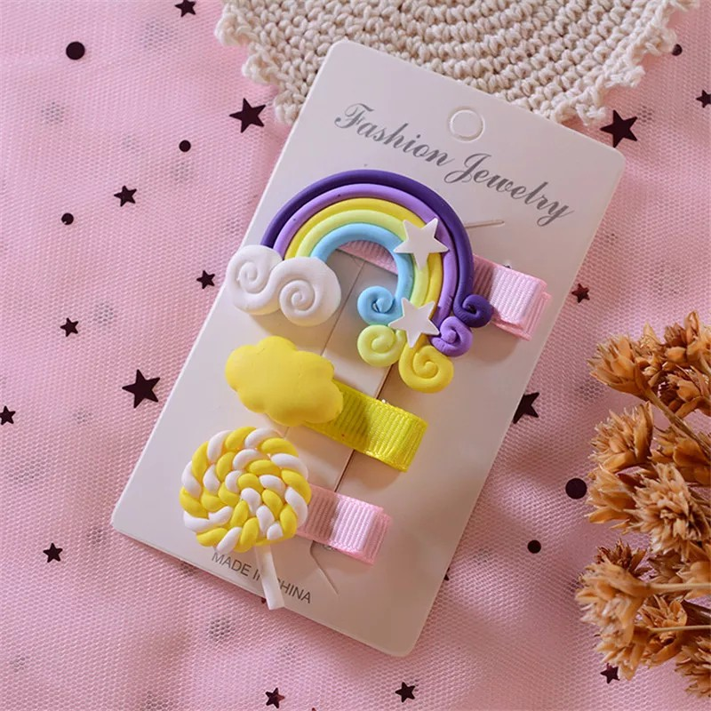 [ READY STOCK ]  3 Pcs Set Kid Baby Hair Cloud Lollipop Cartoon Colorful Rainbow Hair Clip Makeup Jualan Murah