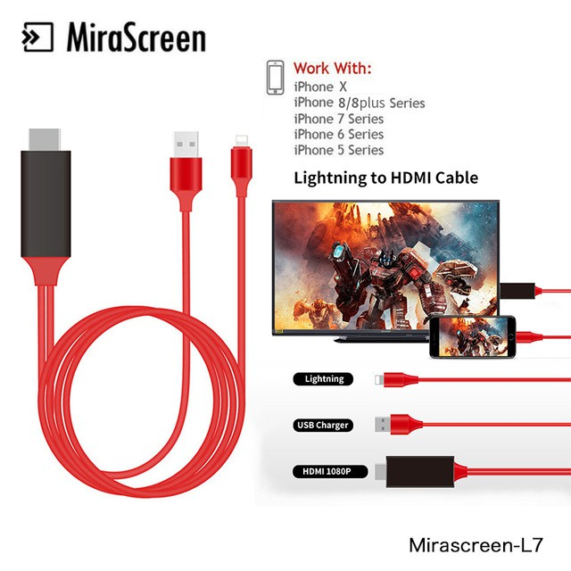 quality design 4220a 60b72 Mirascreen 2M HDMI Cable for iphone X for 7 8 6 plus iPad Lightning to HDMI  TV