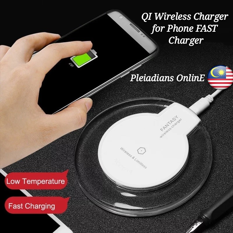 [ READY STOCK ]  Fantasy QI Wireless Charger Fast Charge Hand Phone Charger Battery Jualan Murah Pengecas Power Bank Led