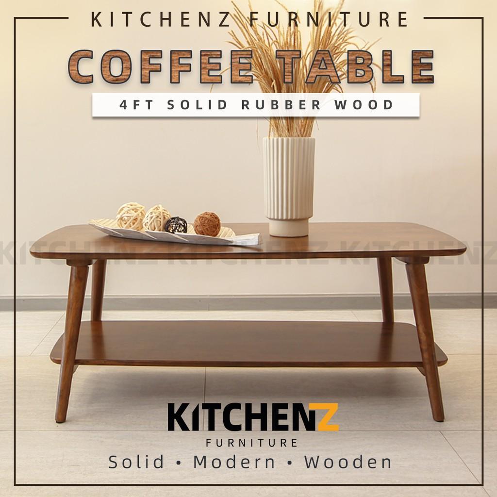 KitchenZ Legno Set 4FT Rectangular Coffee Table / Solid Wood / Open Storage / Tall Leg Design - HMZ-FN-CT-FJ1260-6VCT-WN