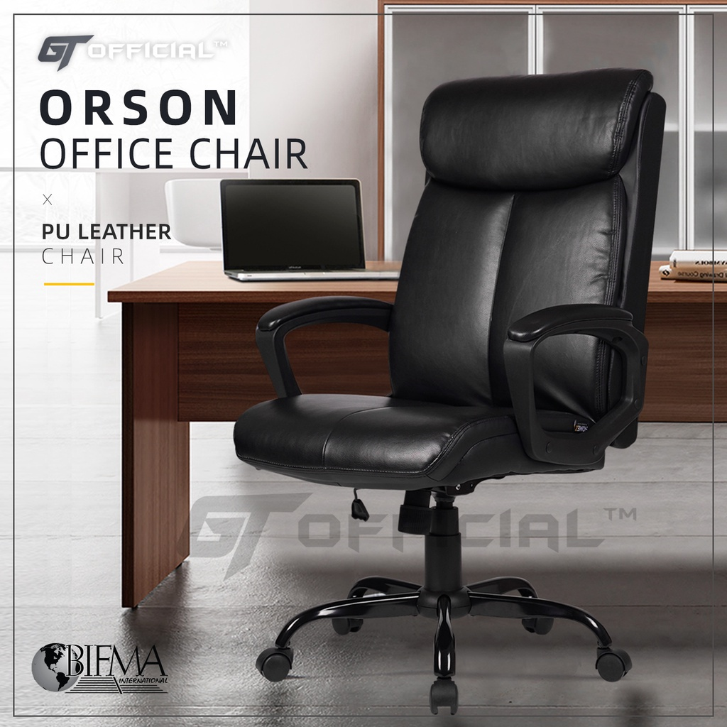 GT Official Orson High Back PU Leather Office Chair with Ergonomic Design / Kerusi Pejabat / Kerusi Boss - HMZ-OC-CS-2191