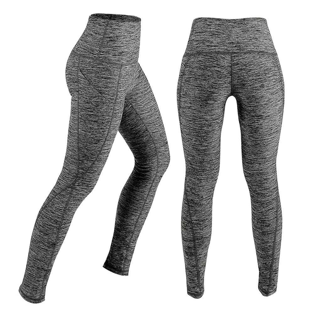 Women\'s High Waist Yoga Pants Tummy Control Workout Running 4 Way Stretch Yoga Leggings Tights with Pocket (gray)