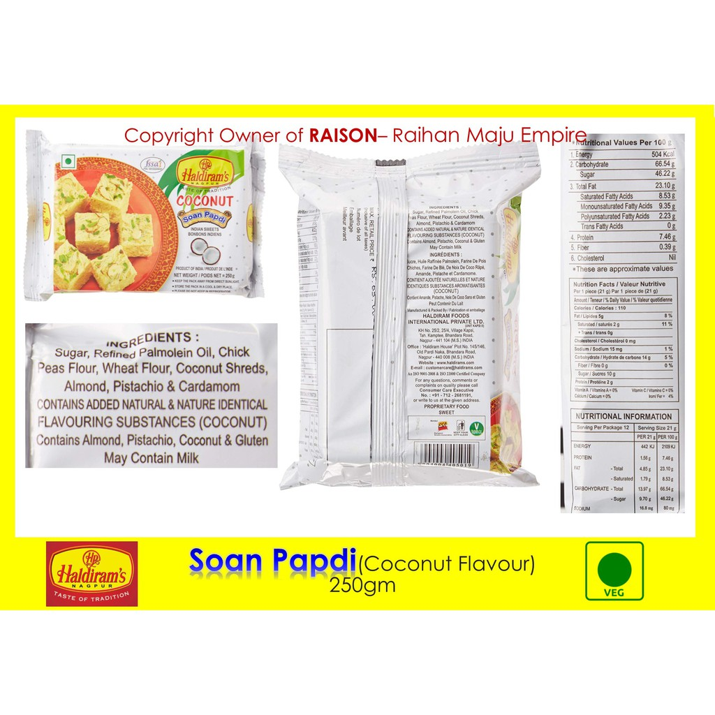 Haldiram's Nagpur Soan Papdi India Sweets (Coconut Flavour) 250gm