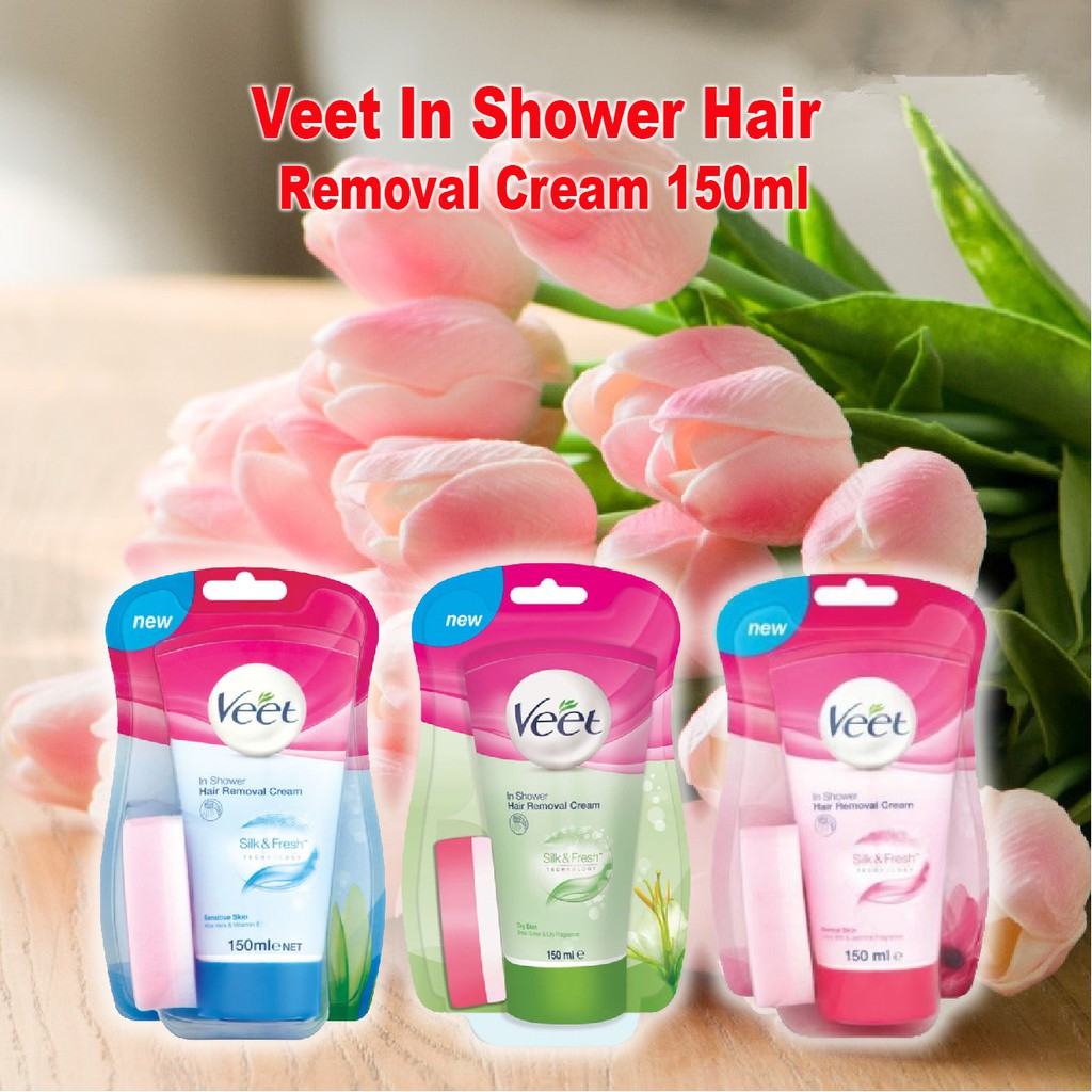 Veet In Shower Hair Removal Cream 150ml Sensitive Skin Dry Skin