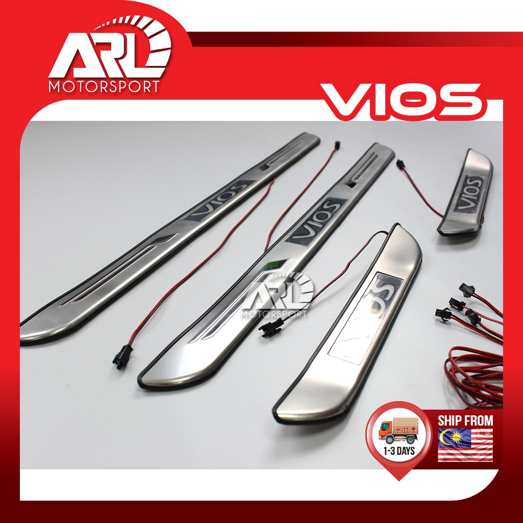 Toyota Vios (2007-2012) NCP93 LED Door Step / Scuff Plate With Logo Vios Car Auto Acccessories ARL Motorsport