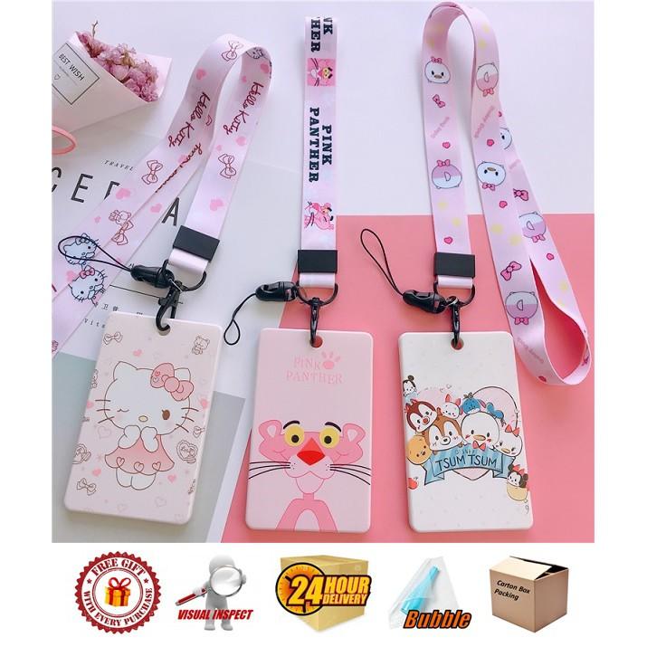 Cartoon Hard Cover Type ID Badge Lanyard Name Tag Key Card Holder Pokemon/ Stitch/ Sesame Street/ Hello Kitty