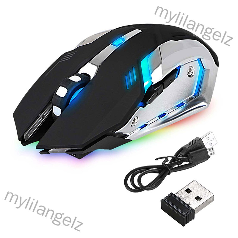 Mylilangelz LED Wireless Optical Gaming Mouse Rechargeable X7 High Resolution Mouse