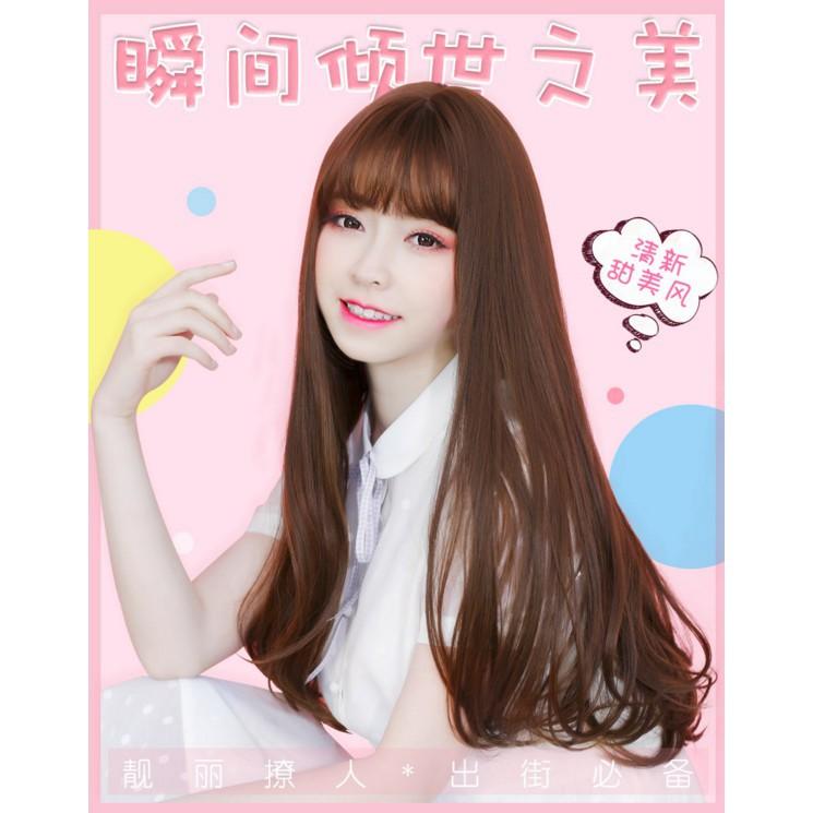 Wig Female Straight Hair Curly Hair Big Wave Long Hair Korean Air Bangs Wig Set Lady Natural Realistic