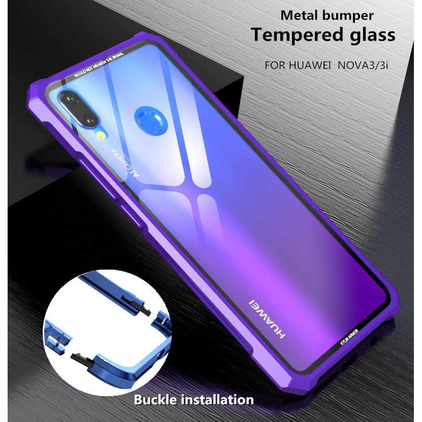 official photos 487de 70be4 Huawei Nova 3 / Nova 3i Slim Full Metal Bumper Transparent Glass Hard Phone  Case
