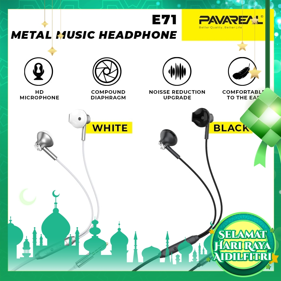 PAVAREAL PA-E71 Stereo Metal Music In-Ear Headphones HD Microphone Earphones for Music Play Noise Reduction Oppo Vivo