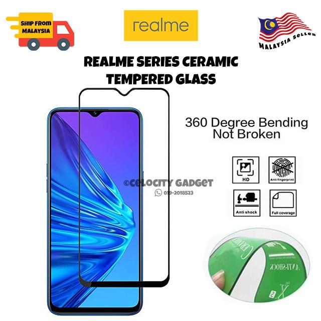 9D Ceramic Tempered Glass For Realme C2/3/3Pro/5Pro/5/5i/5s/6i/C3/XT/6/6Pro