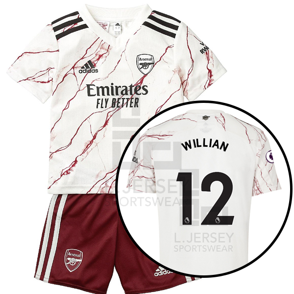 Arsenal Kid Away Season 20/21 AEROREADY Fans Issue Jersey and Shorts with EPL #12 WILLIAN + Patch Printing