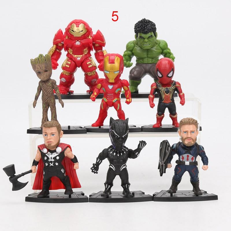 20pcs Marvel Avengers Captain America Hulk Thanos Thor Groot Hero Action Figures