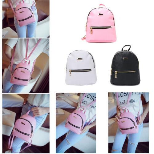 Women Faux Leather School Bag Travel Mini Backpack Satchel Shoulder Backpack